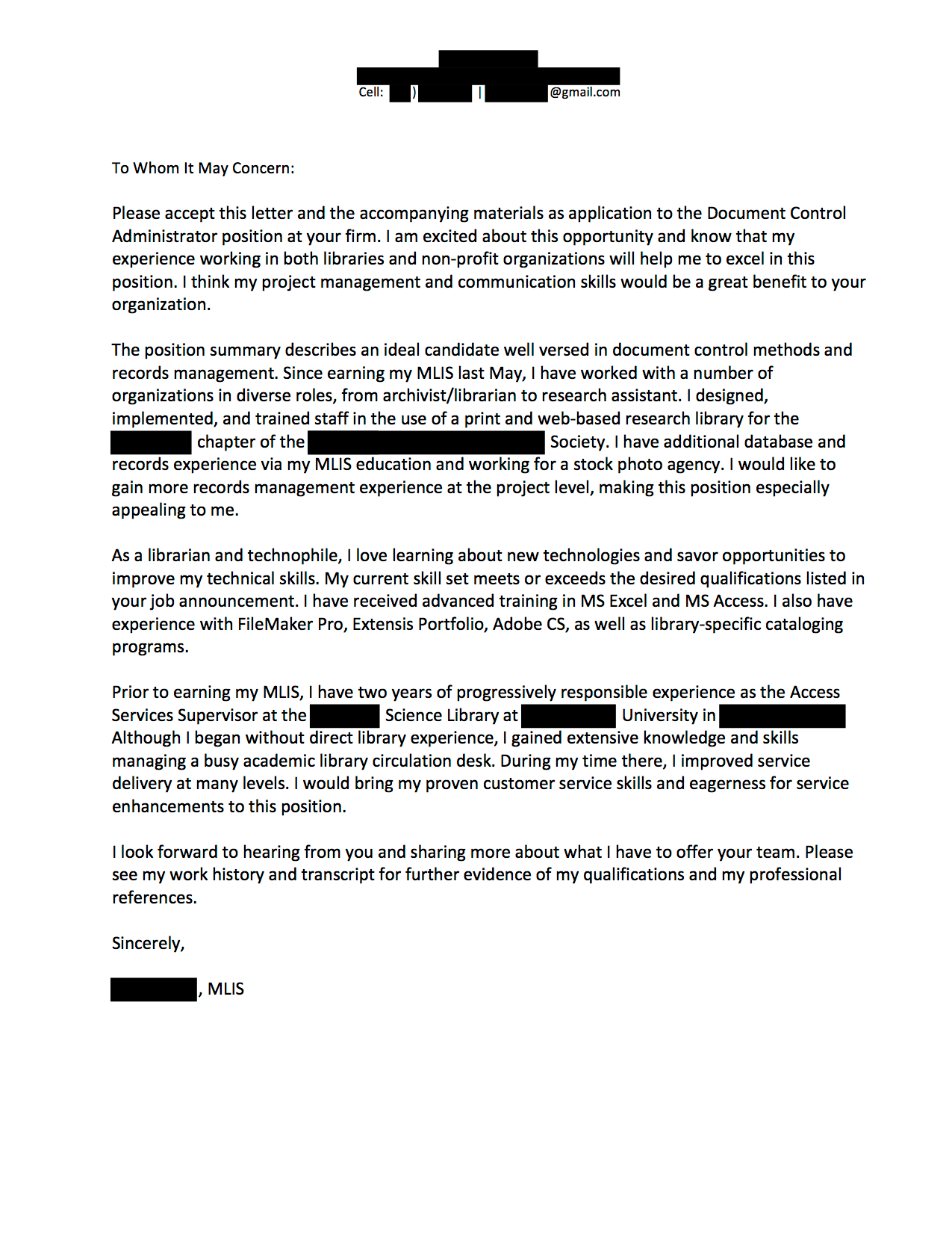 Document Control Administrator Cover Letter