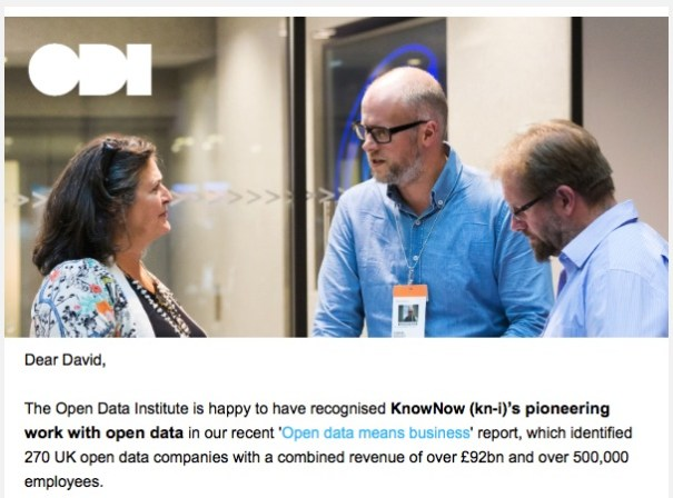 Screen grab of Open Data email recognising KnowNow as Open Data pioneers