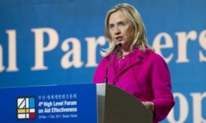 Former U.S. Secretary of State Hillary Clinton announces the U.S. will join IATI at Busan in 2011