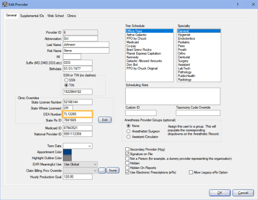 Provider Edit Window