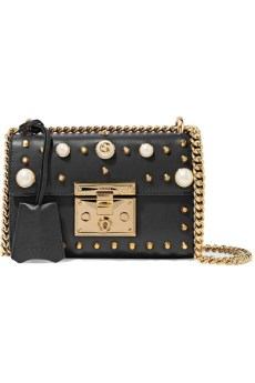 Gucci Padlock Small Faux Pearl-Embellished Studded Leather Shoulder Bag