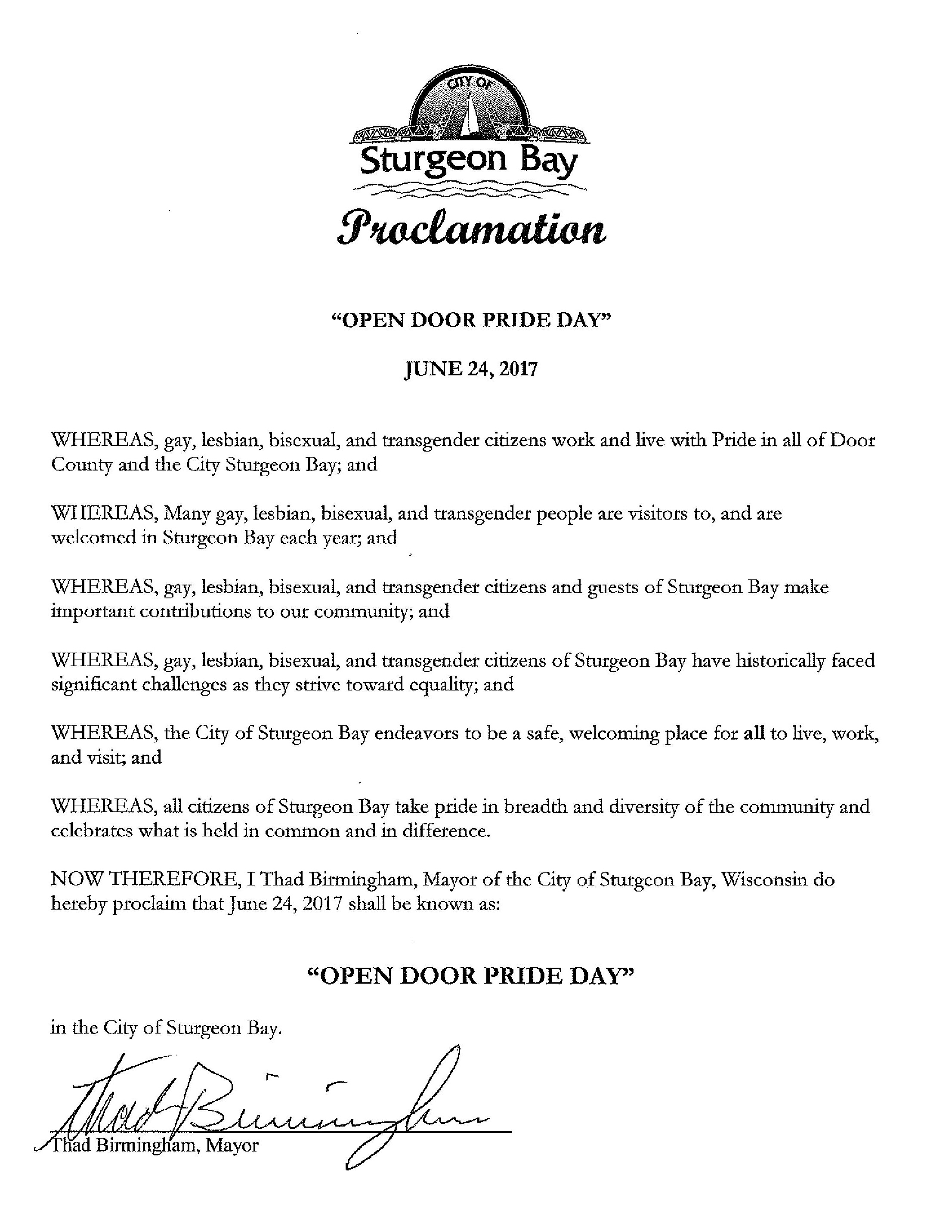 The City of Sturgeon Bay at a town meeting on 6/20/2017 issued this proclamation declaring Saturday June 24th 2017 u201cOpen Door Pride Dayu201d  sc 1 th 255 & Open Door Pride pezcame.com