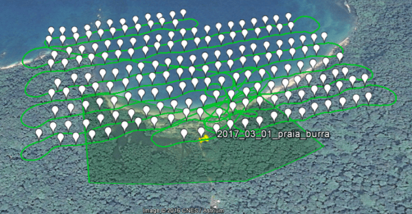 Figure 2: Flight plan over Praia das Burras (each bubble corresponds to an image)