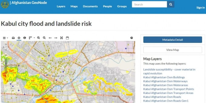 GeoNode risk map of Kabul City