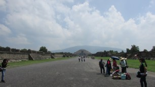 Photo taken at the rough midpoint of the Avenue of the Dead, looking toward the Pyramid of the Moon.