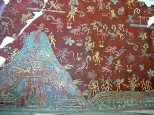 A portion of the mural which appears under the Great Goddess portrait.