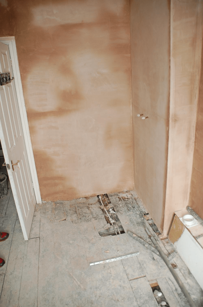 HMO refurb bathroom wall repair