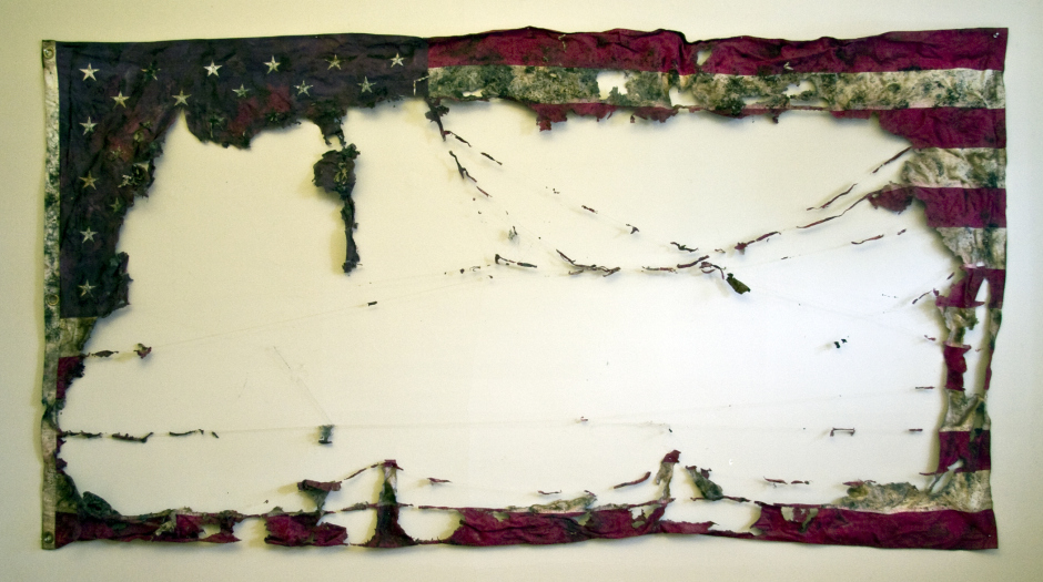 "Claire Pentecost,  ""Proposal for a New American Agriculture""  vermicomposted cotton flag. 9' x 5'"