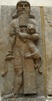 Image result for The Sumerian epic hero Gilgamesh holding a lion.