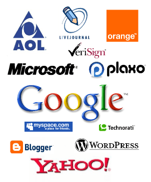 The logos of some of the larger companies getting behind OpenID: Microsoft, Aol, Livejournal, Orange, Plaxo, Bloglines, Six Apart, Sun Microsystems, Technorati, and WordPress.