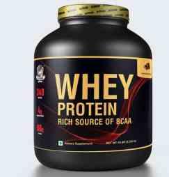 A black bottle of whey protein powder