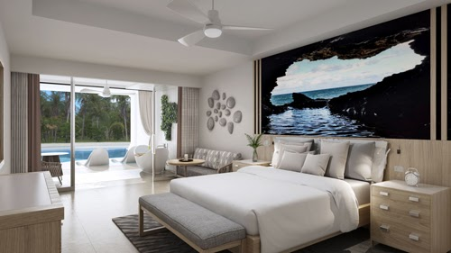 A Crystal Lagoon Swim-Up Butler Suite at the Sandals Royal Barbados South Seas Hideaway.