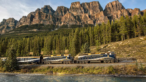 Rocky Mountaineer in Banff National Park.