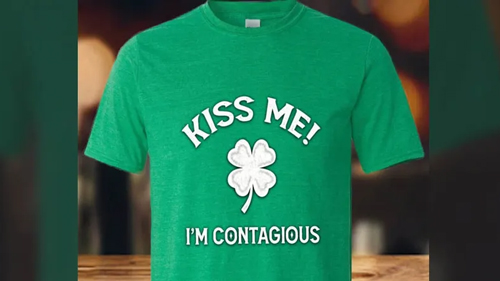 "Iron Pig Smokehouse's ""Kiss me, I'm Contagious"" t-shirt."
