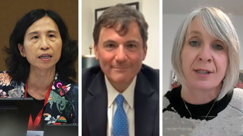 L-R: Theresa Tam, chief public health officer of Canada; Dominic LeBlanc, Minister of Intergovernmental Affairs; and Health Minister Patty Hajdu.