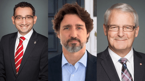 Left to right: Omar Alghabra, Justin Trudeau, Marc Garneau