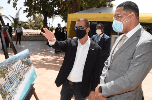 Sandals Resorts Executive Chairman Adam Stewart, with Jamaica's Prime Minister, Andrew Holness, at the Sandals Dunn's River groundbreaking ceremony