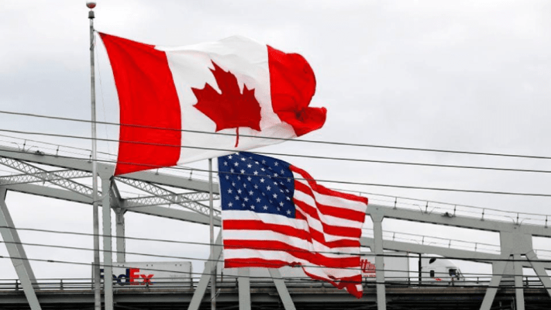 Canada and US Flags at the border