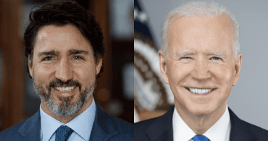 Left to right: Canadian Prime Minister Justin Trudeau, U.S. President Joe Biden