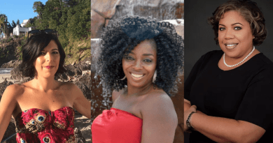 Left to right: Elizabeth Buchanan, founder of Paradise Weddings, Shalene Dudley, founder of Latitude Concierge Travels, and Veranda Adkins, co-founder of Association of Black Travel Professionals.