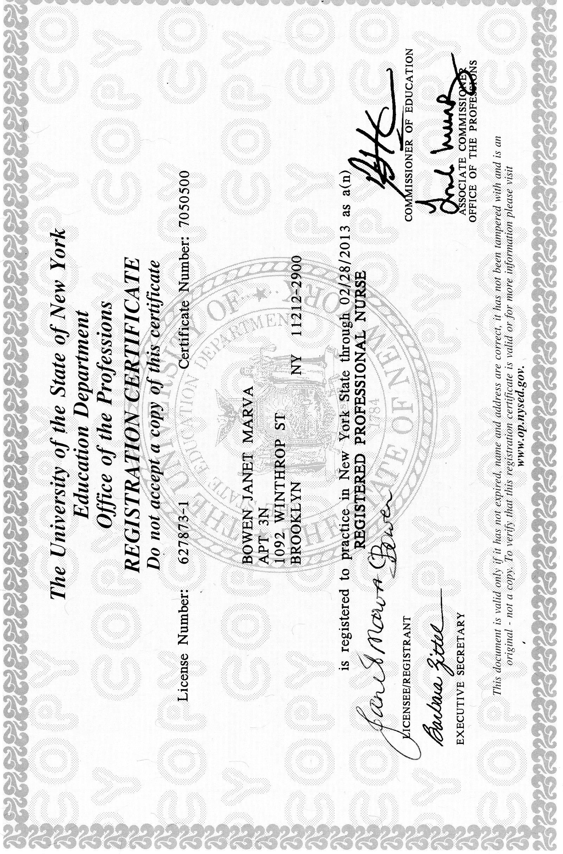 Nursing Registration Certificate Janet Bowen S Eportfolio