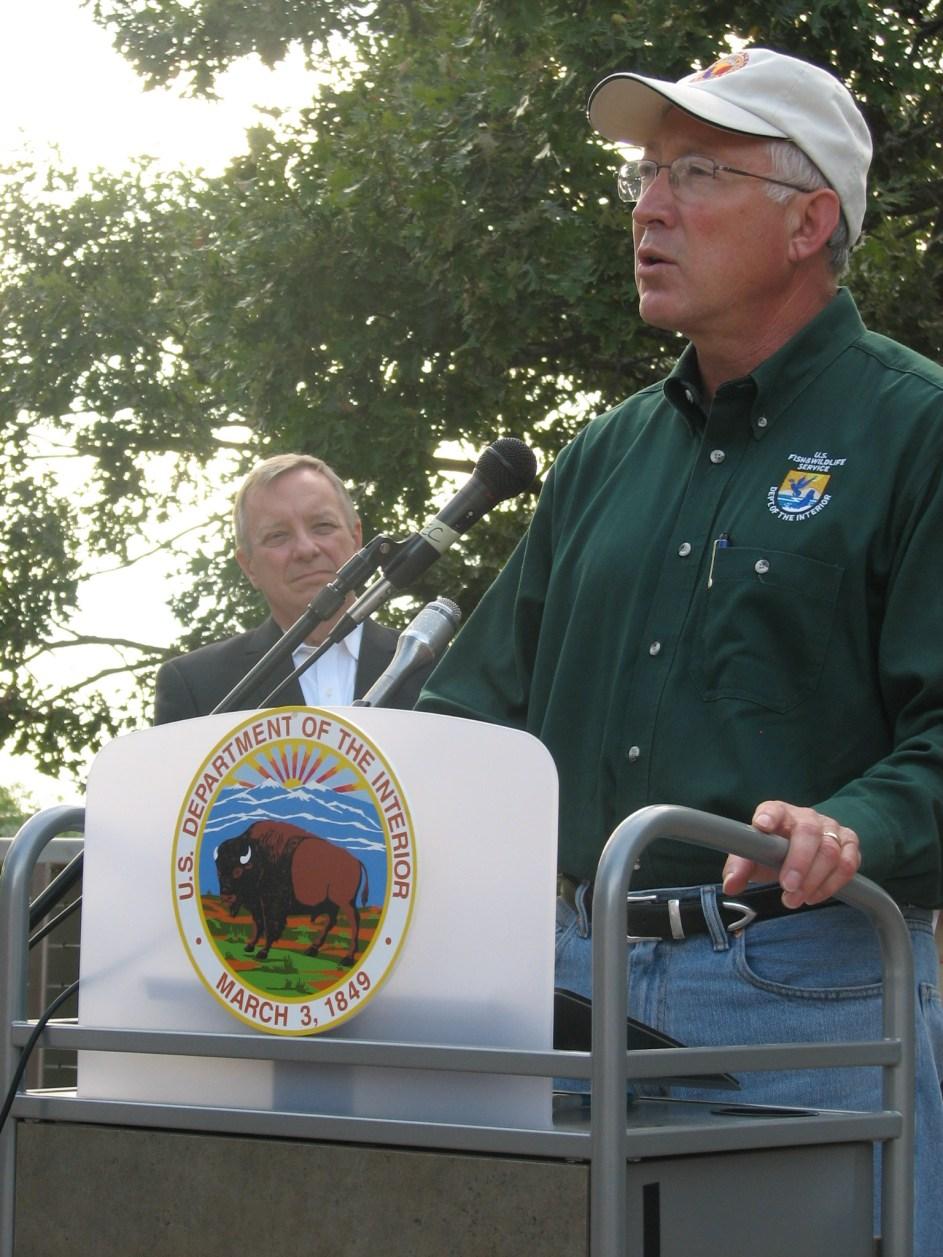 Secretary of the Interior, Ken Salazar, formally designating Hackmatack National Wildlife Refuge.