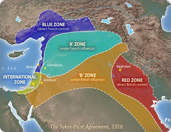 Раздел Ближнего Востока по соглашению Сайкса-Пико (1916).