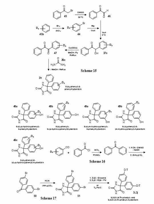 Figure 10. Synthesis of deuterated and tritiated versions of phenytoin (5,5-diphenylhydantoin) (3) (Schemes 15-17).
