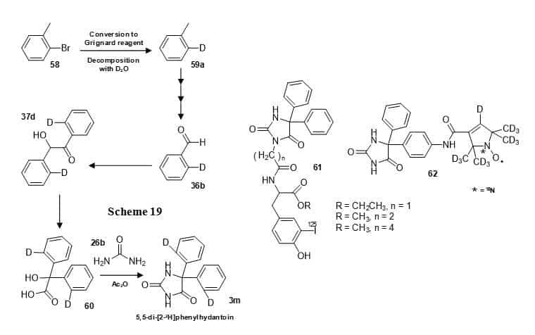 Figure 12 shows the synthesis of 5,5-di-[2-2H]phenylhydantoin (3m) (Scheme 19) and structures of phenytoin derivatives with 125I (61) and 15N,2H labels (62).