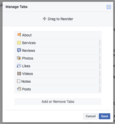 Facebook Page Tabs Options Screenshot