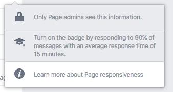 Facebook Page responsiveness menu dropdown Screenshot