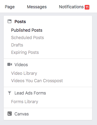 Facebook Page publisher tools menu Screenshot