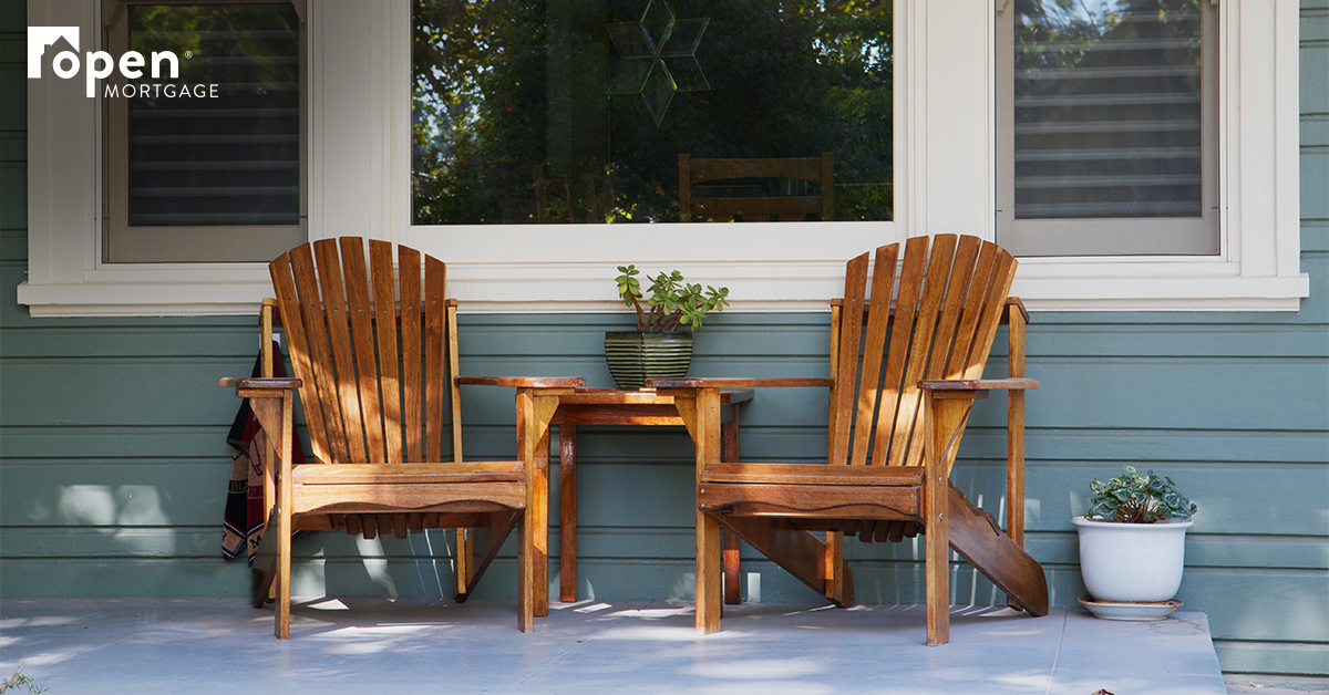 porch with 2 wooden chairs