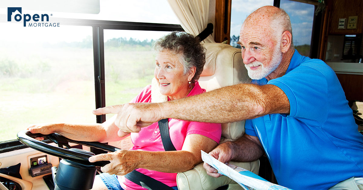 Older couple driving an RV
