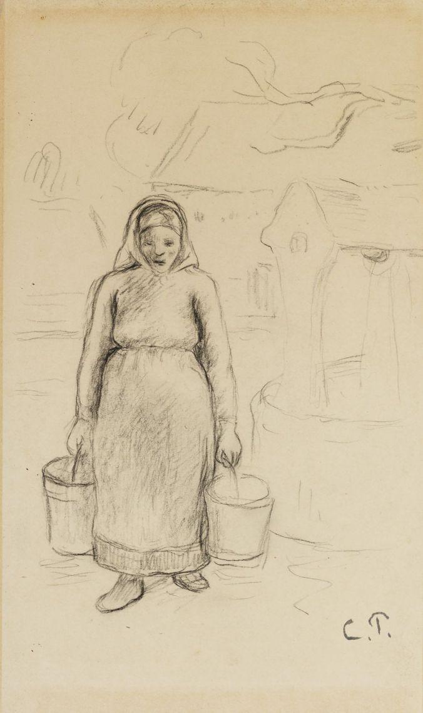 Camille Pissaro, Porteuse d'eau, 1874, Bleistift auf Papier