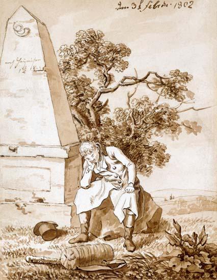 Caspar David Friedrich, Wanderer am Meilenstein, 1802, München, Staatliche graphische Sammlungen
