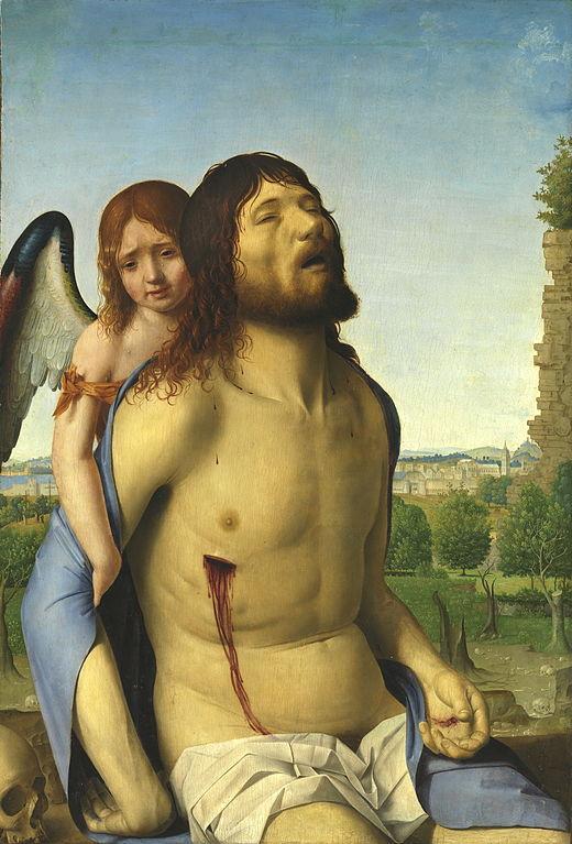 Antonello da Messina, Cristo in pietà e un angelo, ca. 1476