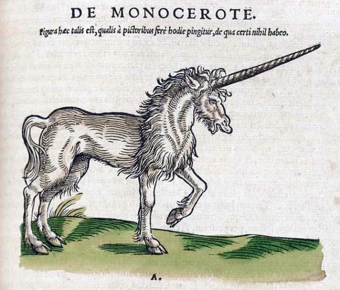Einhorn (Monoceros). Conrad Gesner, Historiae Animalium; liber primus, qui est de quadrupedibus viviparis, Zürich, 1551.