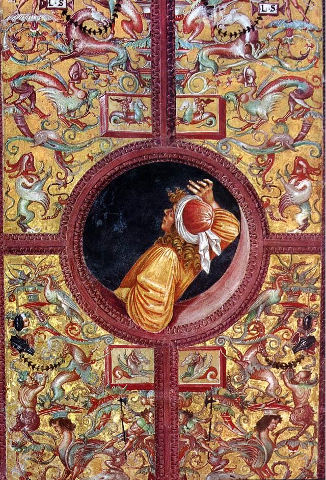 Luca Signorelli, Empedokles lehnt sich aus dem Fenster, um kosmische Prozesse zu beobachten. Dom von Orvieto, 1500/1502