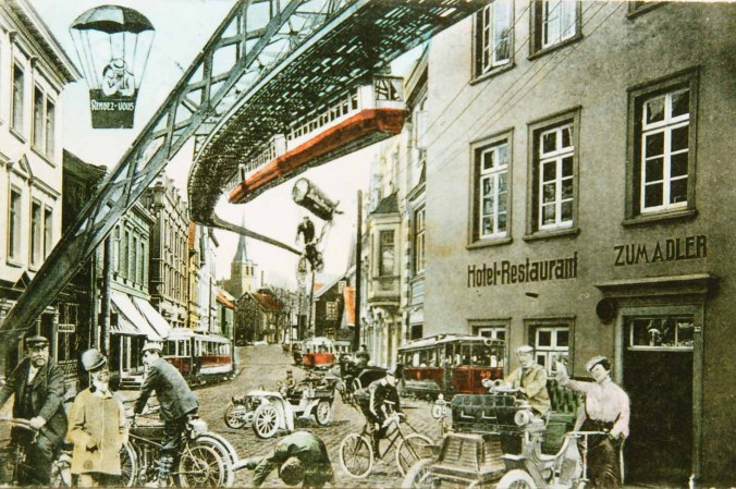 """Zukunftsvision """"Verkehr"""", Postkarte um1909"""
