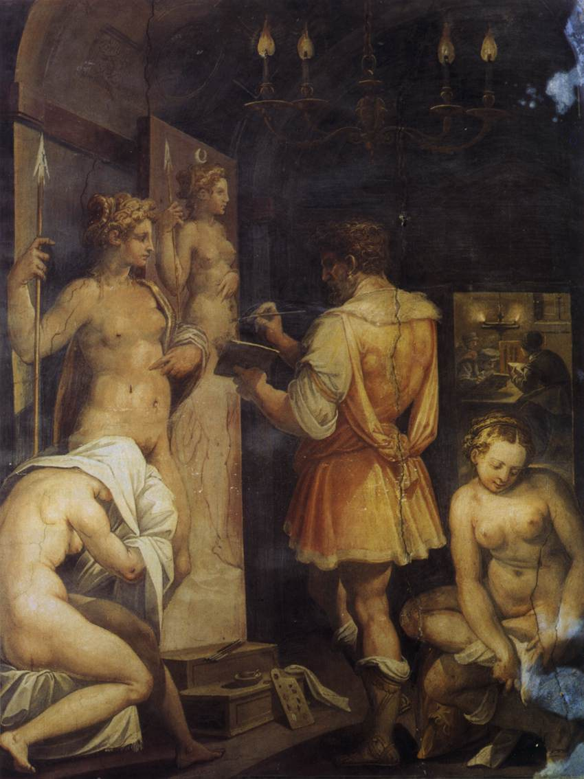 Giorgio BVasari, The Studio of the Painter, ca. 1563, Fresco, Casa Vasari, Florenz