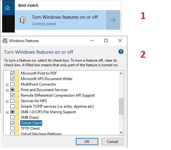 enable telnet on windows 10