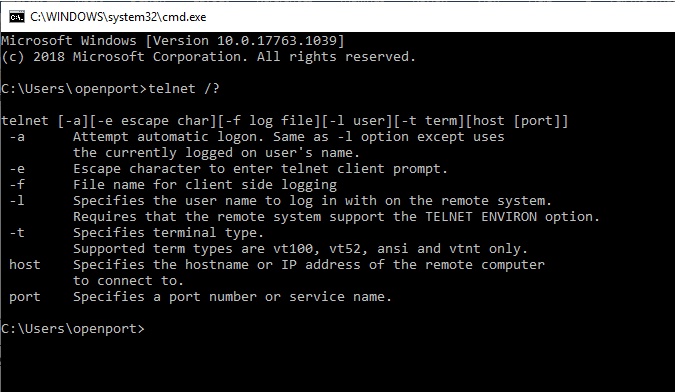 Telnet help screen