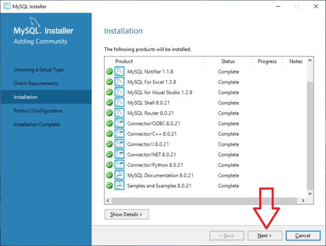 MySQL Installation done