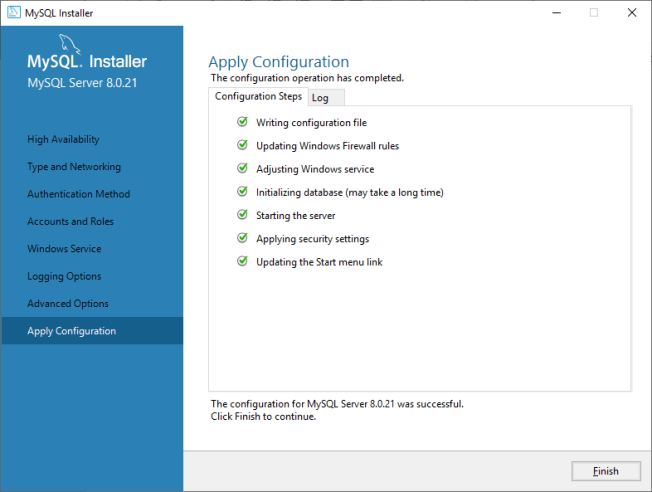 MySQL Apply Configuration Finish