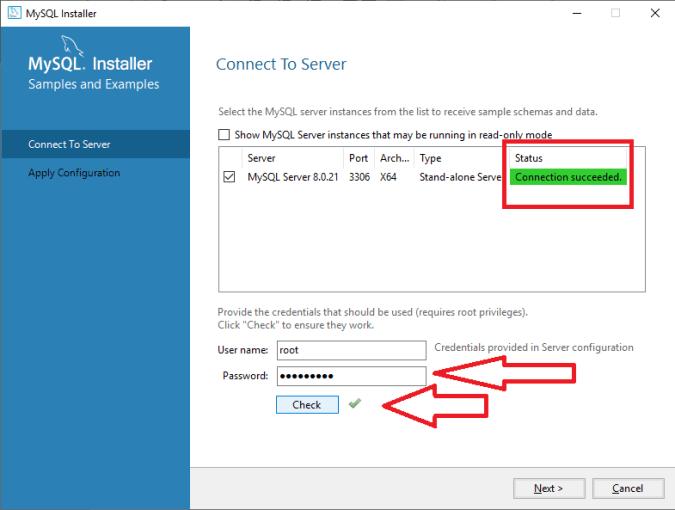 MySQL Connect to server