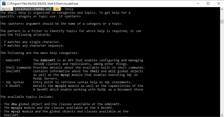 MySQL command line shell
