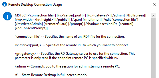 rdp command parameters