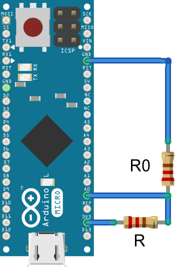 Pt100 Resistance to temperature sensor in voltage divider circuit for Arduino measure analog measure temperature