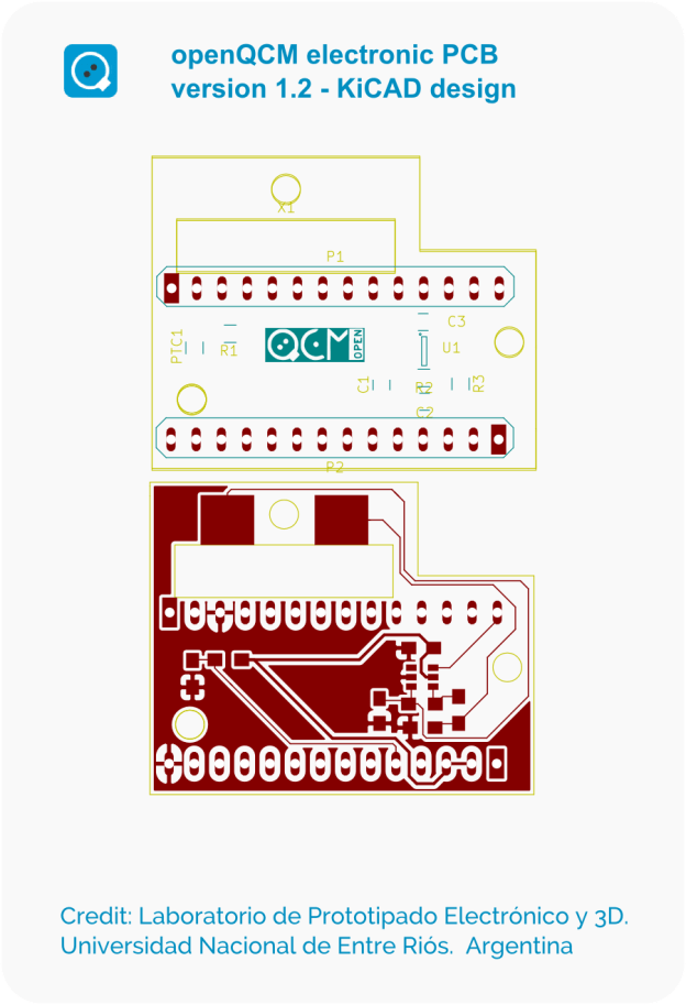openQCM electronic version 1.2 PCB designed using the open source KiCAD EDA software